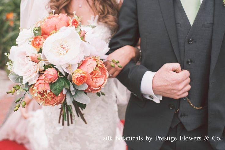 Silk botanicals: peach / burnt orange english rose, magnolia, peony, gypsophila, rose hip, ranunculus, dusty miller leaf by Prestige Flowers & Co.