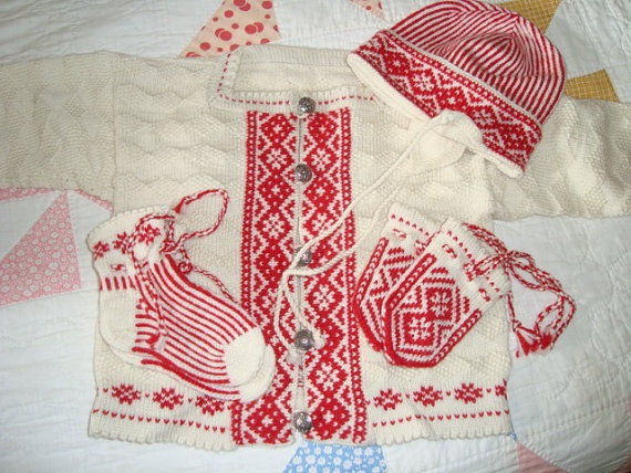 Norwegian hand made sweater, socks, hat and thumb-less mittens in a traditional pattern.