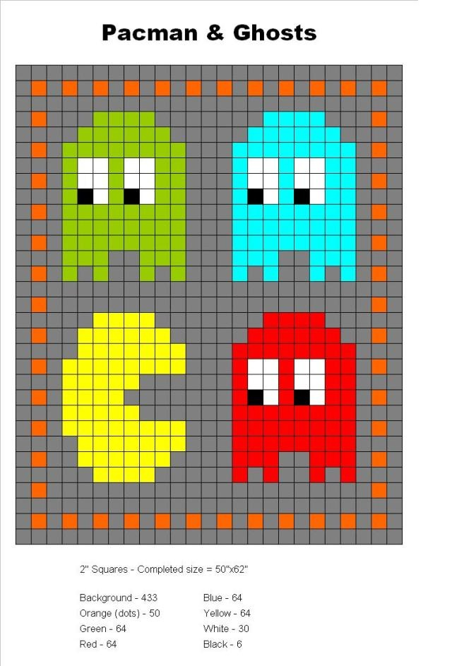 Pacman and Ghosts perler bead pattern