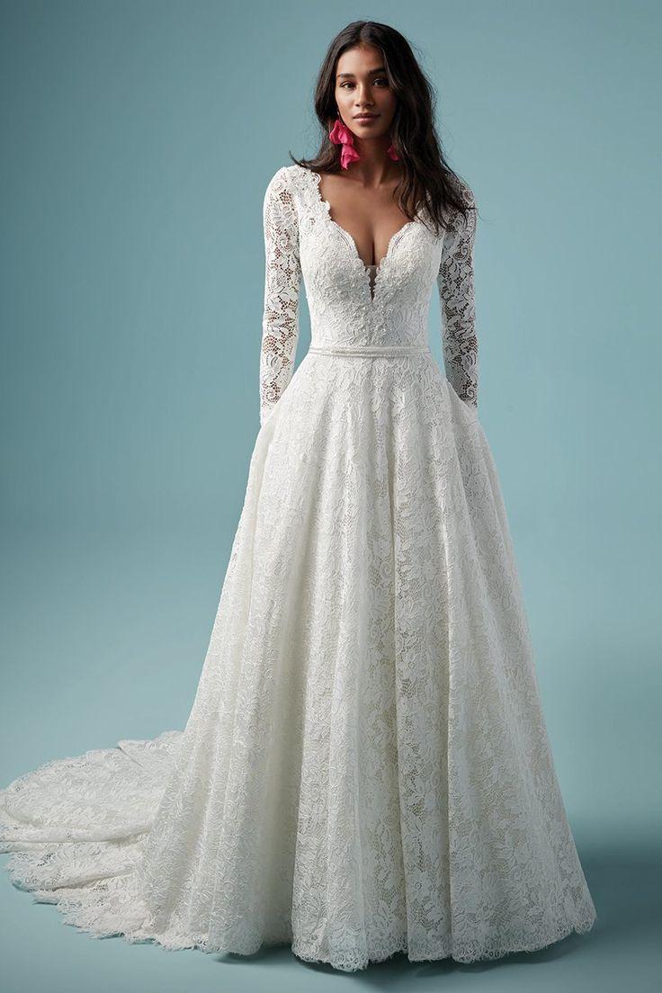 Lace wedding dress idea   long sleeve wedding dress idea with v ...