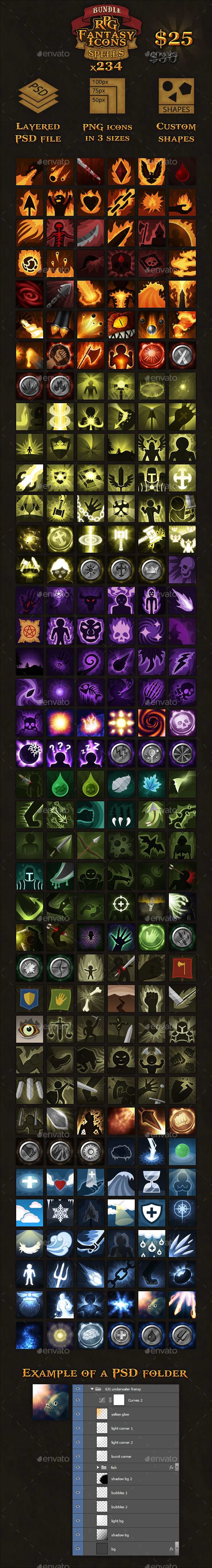 234 RPG Fantasy Spells Icons Bundle - Miscellaneous Game Assets