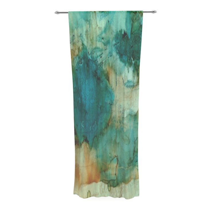 Rosie Brown Waterfall Teal Blue Decorative Sheer Curtain