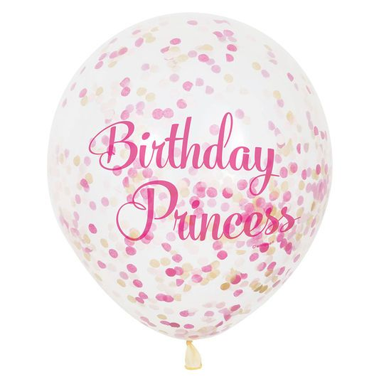 Birthday Princess Pink and Gold Confetti Filled Balloons | Princess Party Decorations | Princess Party Supplies