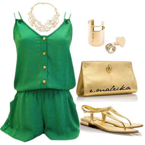 green & gold, created by eva-malecka on Polyvore