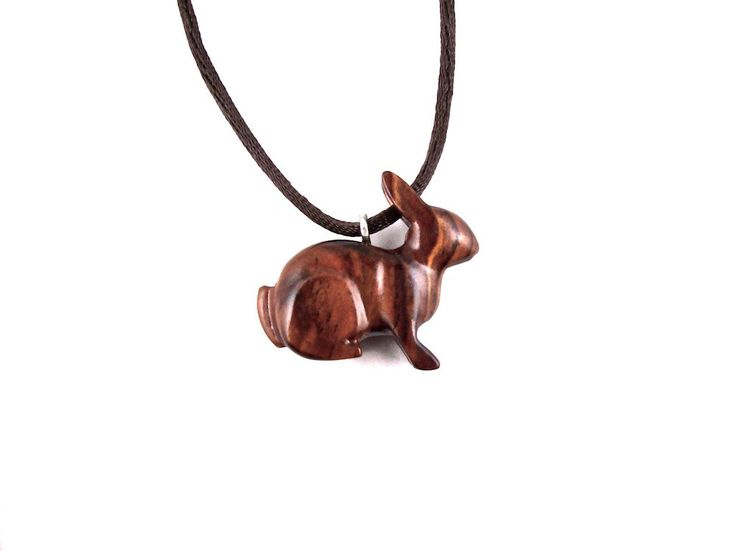 Rabbit Pendant, Rabbit Necklace, Bunny Pendant, Bunny Necklace, Wood Bunny Necklace, Wooden Rabbit Totem Jewelry, Hand Carved Animal Pendant by GatewayAlpha on Etsy