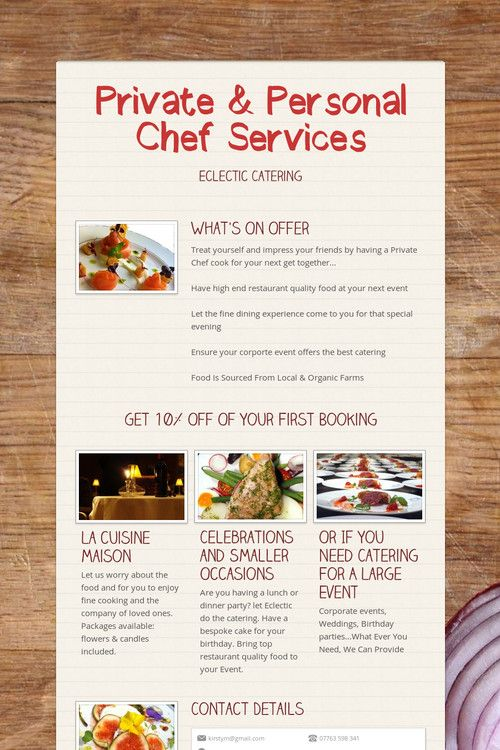 personal chef service Personal chef serving chicago and surrounding suburbs we are expanding to st louis now offering all of our services including small event catering, personal chef services, and pop-up dinners in st louis city and county.