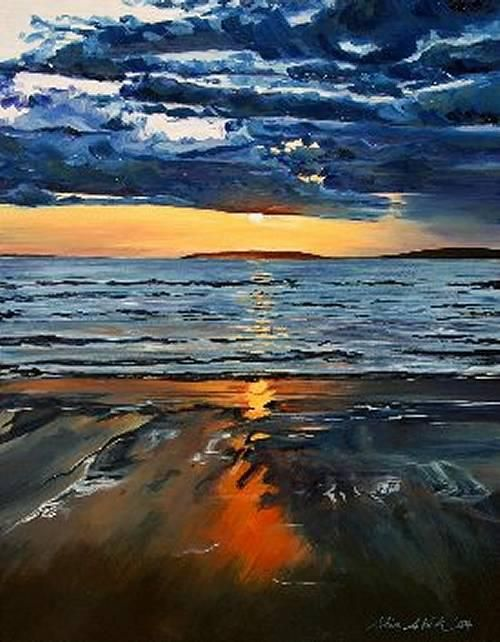'Last Light Ballybunion' Oil on Gessobord by Olive Stack Sold