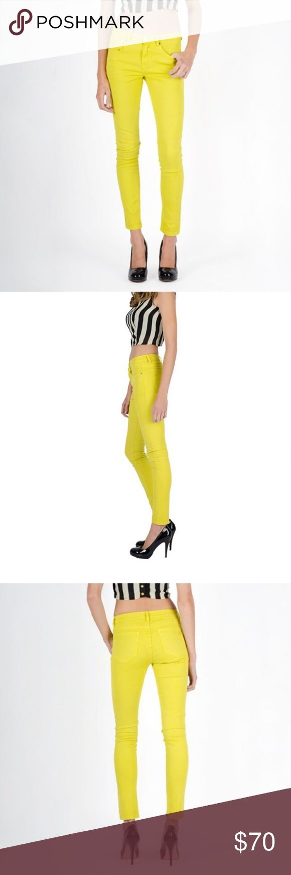 Yellow jeans Add a bit of color to your wardrobe with Chaconia dolls' zesty lemon premium skinny jeans! Pair these with our striped cropped top or navy blue blazer for a clean and sophisticated look!  Click 'Shop the Look' for many ways to wear our Neon Jeans!  * 98% Cotton *2% Spandex  * Low rise Premium denim  * Logo on the back pocket  * Jeans are true to size, please measure your waist before selecting size.  * Brand: Chaconia Dolls  *Thank you for looking Chaconia Dolls Jeans Skinny