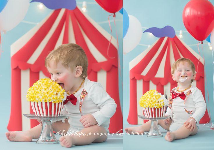 Cake smash photo by Heidi Hope Photography.   Popcorn circus smash cake.