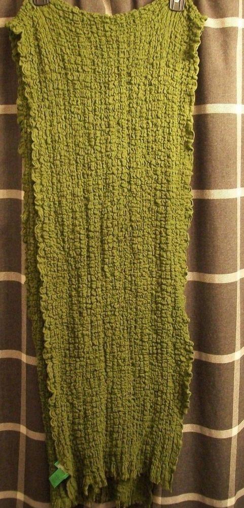 A93233 LOGO by Lori Goldstein Green Crinkle Fringe Chunky Cotton Spandex Scarf #LOGObyLoriGoldstein #Scarf