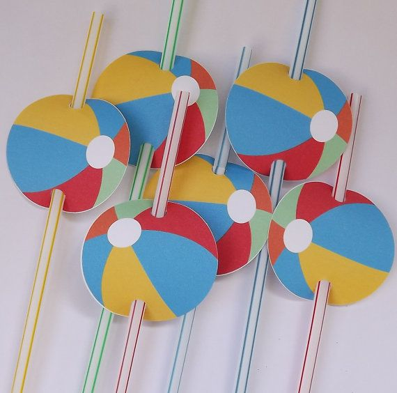 Beach Ball Pool Party Straw Tags Favor tags by beadedink on Etsy, $4.00