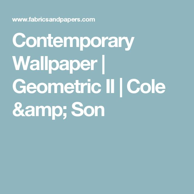 Contemporary Wallpaper | Geometric II | Cole & Son