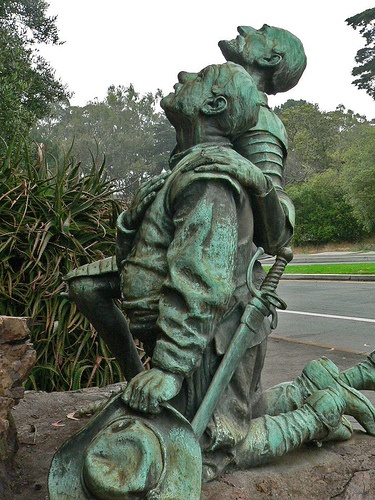 Don Quixote and Sancho Panza worship a shrine to Cervantes in Golden Gate Park by mharrsch, via Flickr