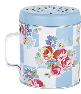 Perfect for dusting surfaces when baking, this vintage-inspired flour shaker will brighten up any kitchen. Matching items available.