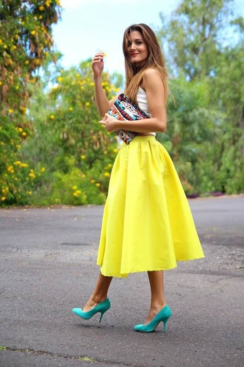 Choies Bright Yellow High Waisted Polyester Skater Dress