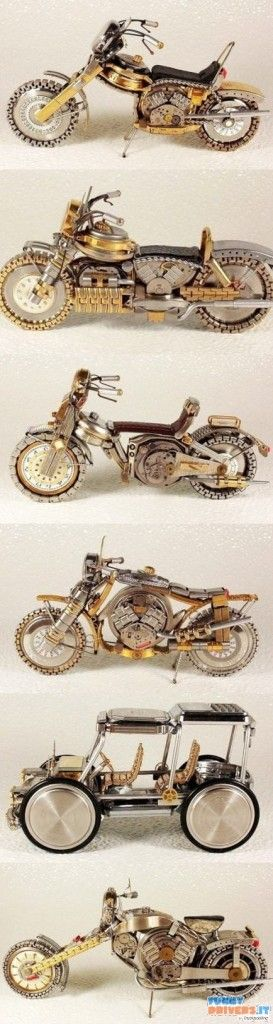 Modellini fatti con pezzi di vecchi orologi - http://www.funnydrivers.it/arte-di-strada/modellini-fatti-con-pezzi-di-vecchi-orologi/
