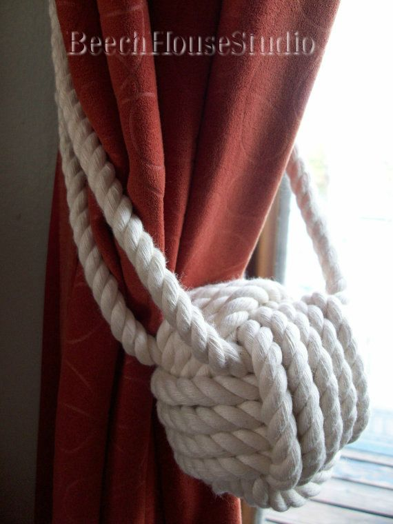 Nautical Home Decor  4 Cotton Rope Curtain Tie backs 2 pairs