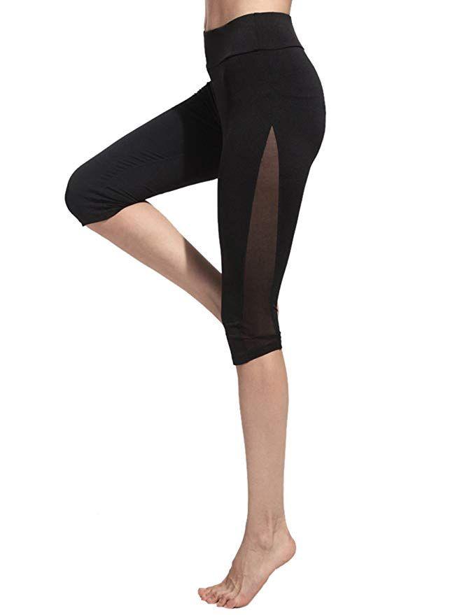 55cfd583ef3 SweatyRocks Women's Mesh Panel Capri Leggings Workout Yoga Running ...