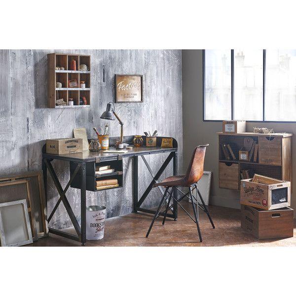 Stuhl Im Industrial Stil Aus Leder Und Metall, Braun