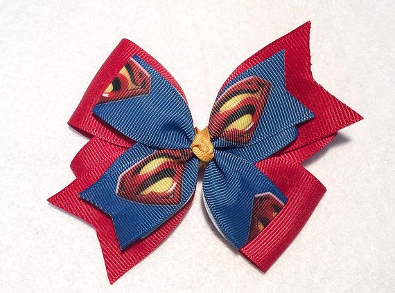 Superman Hair Bow by ItsEspecially4U #superman #superhero #hair #bow #clip #stacked #boutique #pinwheel #headband #comic #itsespeciall4u #geeky #character