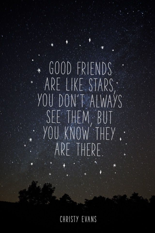 """Good friends are like stars, you don't always see them, but you know they are there."" - Christy Evans   #madewithover  Download and edit your own quotes in Over today."