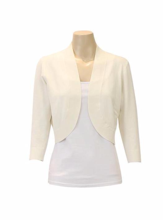 Jendi - 10-334 Knit Bolero Cardigan- Ivory