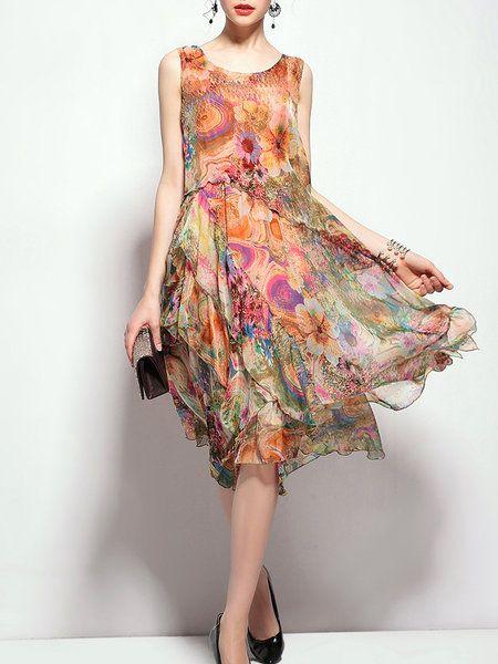 Shop Midi Dresses - Floral Crew Neck Casual Sleeveless Asymmetrical Midi Dress online. Discover unique designers fashion at StyleWe.com.