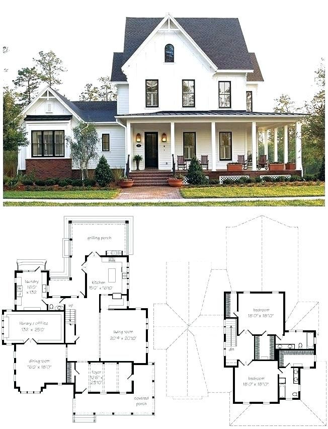 Image Result For Simple Small 2 Story Farmhouse Plans Farmhouse Plans House Plans Modern Farmhouse Design