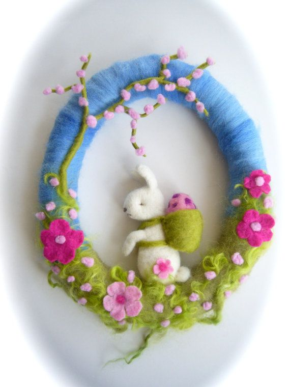 Spring Wreath Easter. Needle Felted. Waldorf.Wool by FilzArts, $46.00