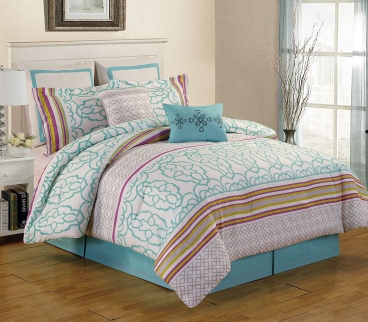8 Piece Arvada Teal Comforter Set