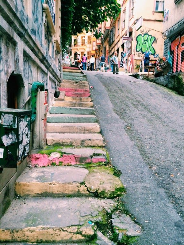 pastel painted staircase- the colors of Istanbul.