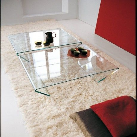 Table basse design rectangulaire ou carrée en verre -  Rubino Sovet® - 1