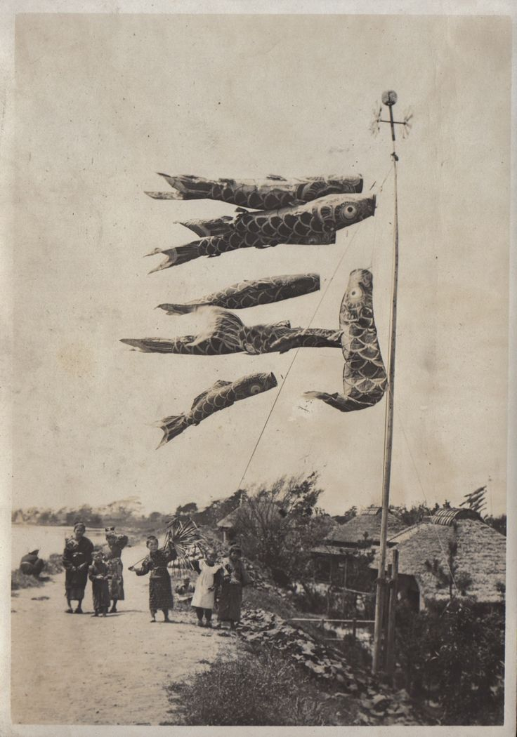 Koinobori 鯉幟 for Kodomo no hi 子供の日 in May Festival, Japan - 1914-1918 Nippon-Graph