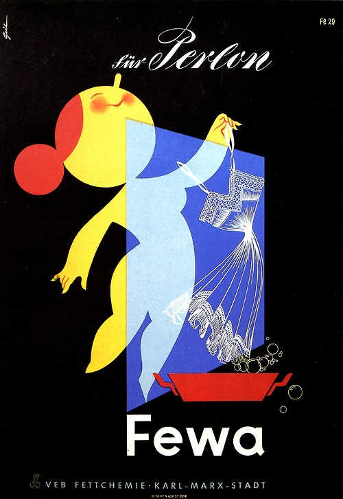 Für Perlon.Fewa VEB Fettchemie, GDR ad display, 1957.  via Harald Haefker