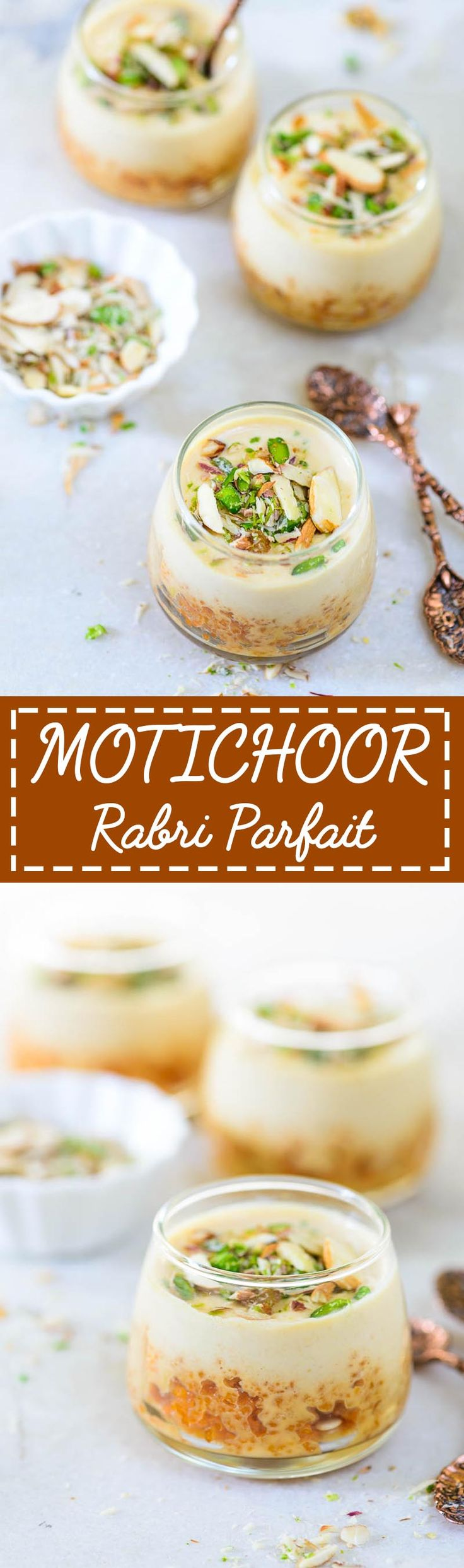 Motichoor Rabdi Parfait. A fancy dessert to make this diwali. Very easy and quick to assemble. Food photography and Styling by Neha Mathur.