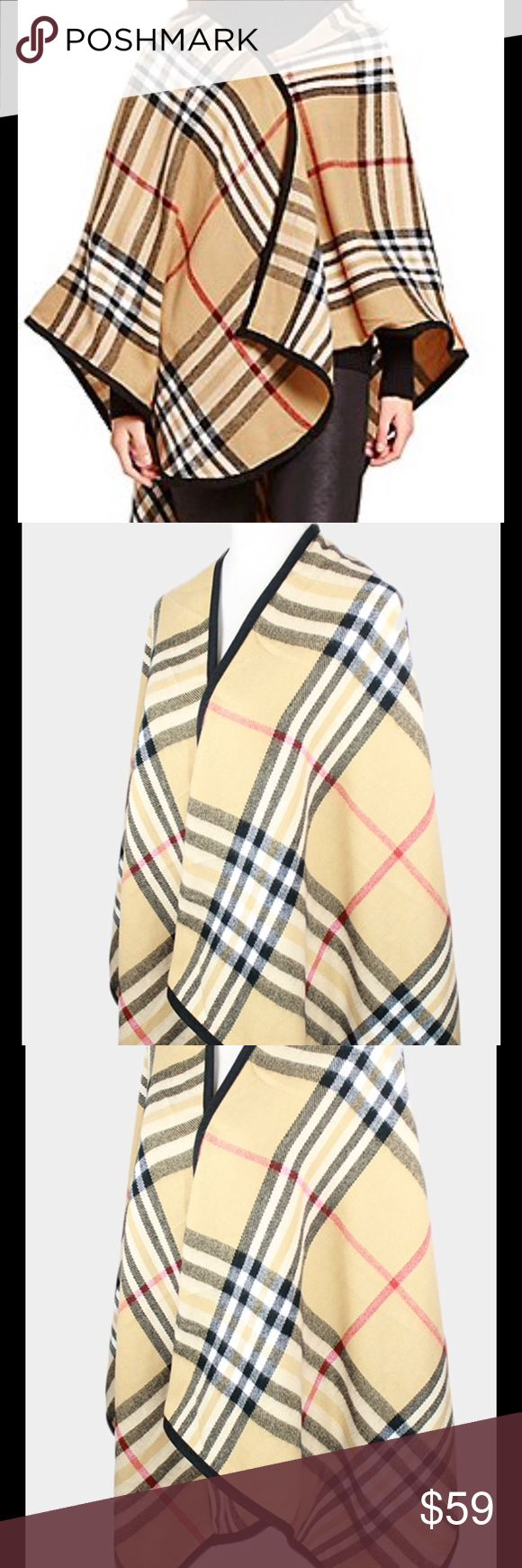 Scottish tartans check wrap poncho • Color : Camel  • Size : One size fits most • Material : Polyester • Scottish tartans check wrap poncho Jackets & Coats Capes