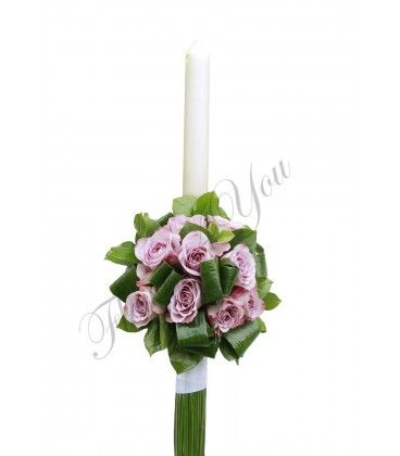 Lumanari nunta trandafiri mov