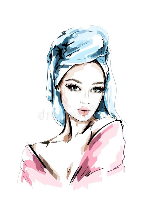 Hand Drawn Beautiful Woman Portrait Fashion Woman With Bath Towel On Her Head Sketch Vector Illustration Stock In 2020 Female Portrait How To Draw Hands Cartoon Art