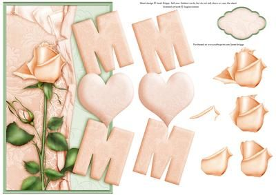 MUM PEACH ROSE Over the Side card on Craftsuprint designed by Janet Briggs - Mum card.Over the side card for Mum, Mom or Mam with step by step decoupage.Features peach rose.Additional blank tag provided for your own sentiment. Could be used for Happy Birthday or Mother's Day. - Now available for download!