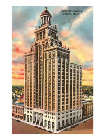 Postcard of the Neils Esperson Building, Houston, Texas from 1939.