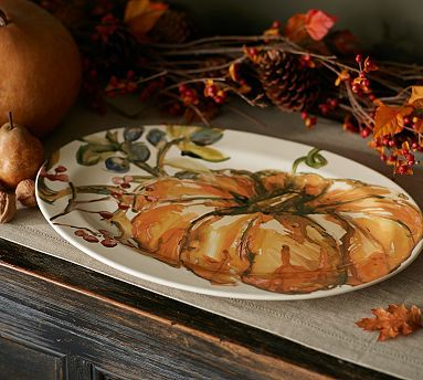 Watercolor Pumpkin Platter #potterybarn $69. sold out everywhere :(