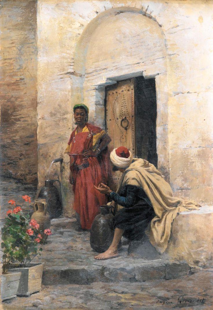 Conversation a la Fontaine - by Eugène Girardet