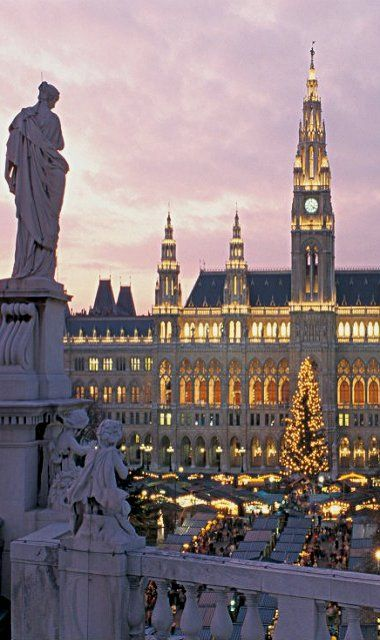 The Christmas Market in front of Vienna's City Hall, Austria - one of my favorite places on earth!