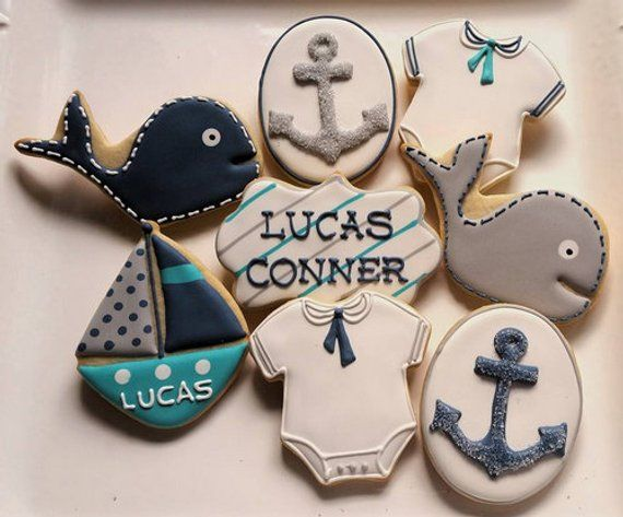 1 DOZEN – Nautical Baby Shower Sail Boat Onesies Anchor Whale Decorating Cookies Custom