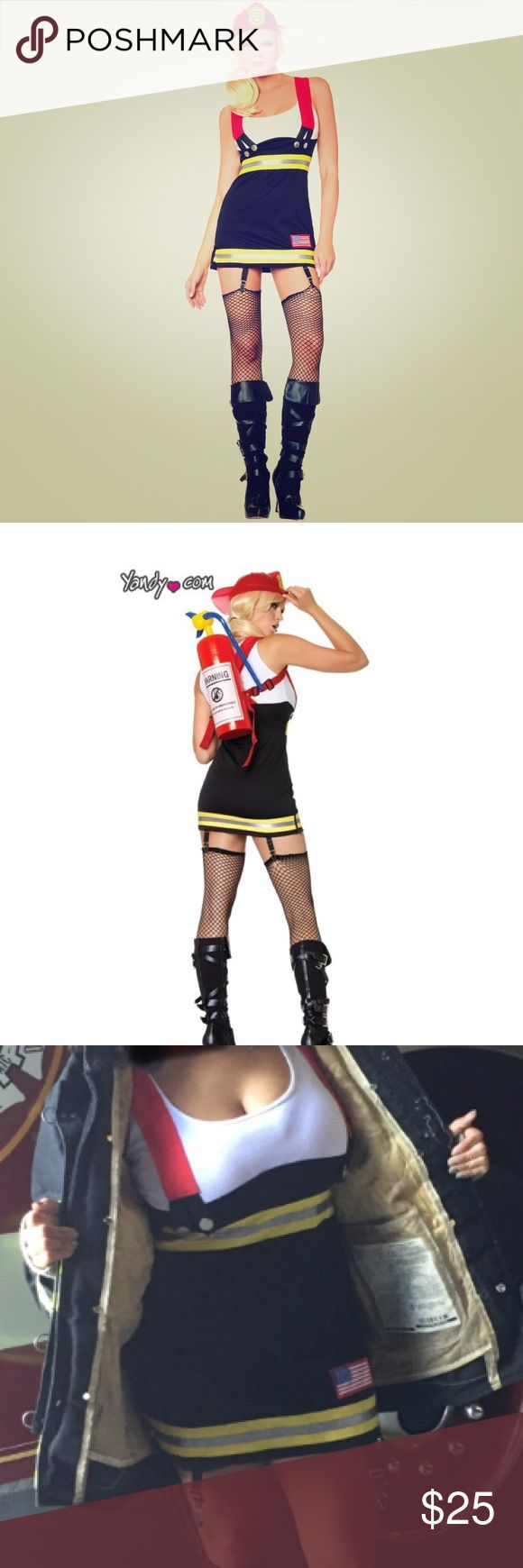Leg Avenue Backdraft Babe Costume 88% polyester 12% cotton Fabric suspender straps fasten below the bust w/ plastic buttons Small American flag patch over thigh Garters attached at bottom hem.                                          Includes: Dress w/ suspenders. Fire hat & inflatable fire extinguisher. leg avenue Other