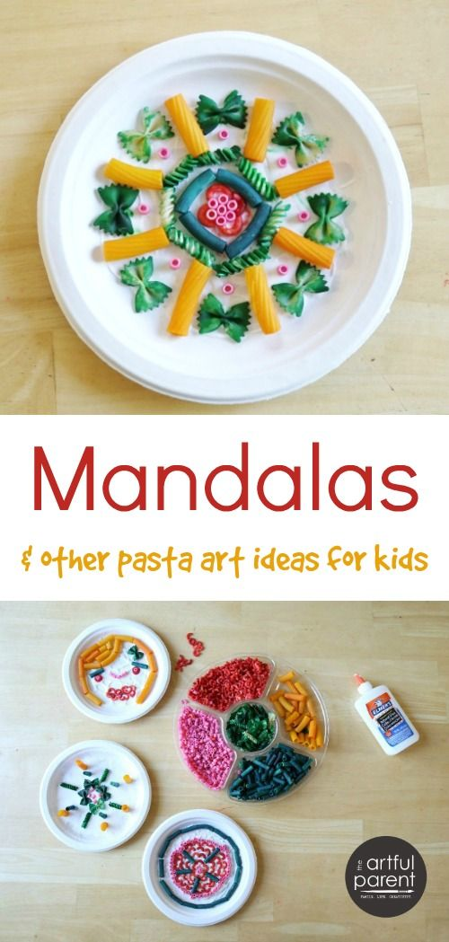 Fun pasta art activities for kids (sculptures, clay, mandalas) plus instructions for coloring your own pasta shapes to use in kids crafts.