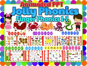 """Jolly Phonics- Finger Phonics 1-7 Bundle Animated Powerpoint This is a product to support the Jolly Phonics books, """"Finger Phonics 1-7"""". This is a very helpful teaching aid to supplement the Finger Phonics 1-7 books. This will make your lesson easy and exciting for"""