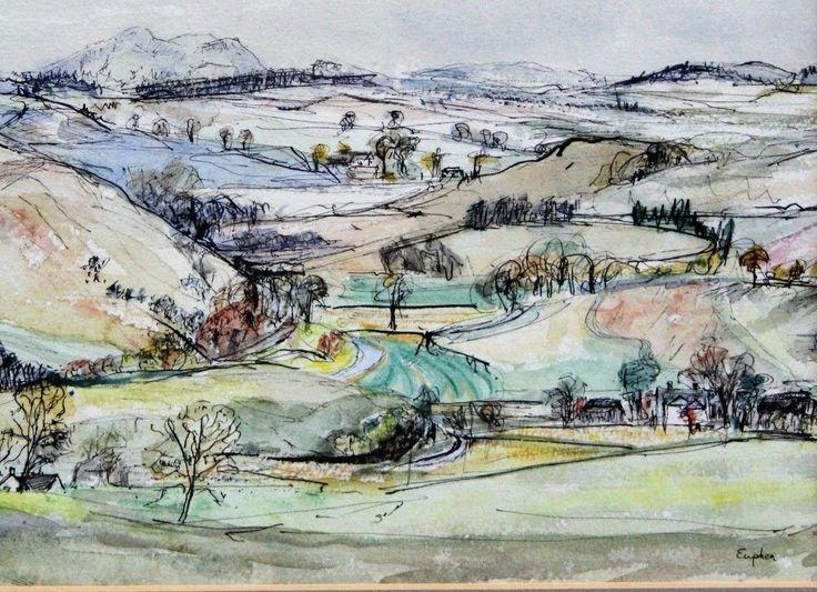 Scottish Impressionist Painting Eildon Hills Selkirk Euphen Alexander Listed 60s | eBay