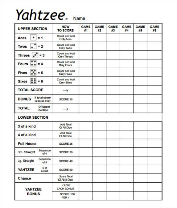 The  Best Yahtzee Score Sheets Ideas On   Yahtzee