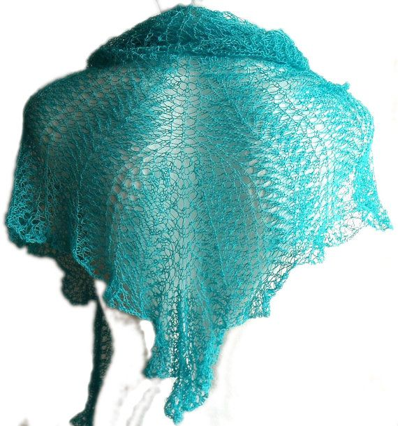 Turquoise sea blue green mist knitting handmade by MyLaceSpace, $85.00